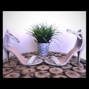 Material Girl silver sparkle high heels